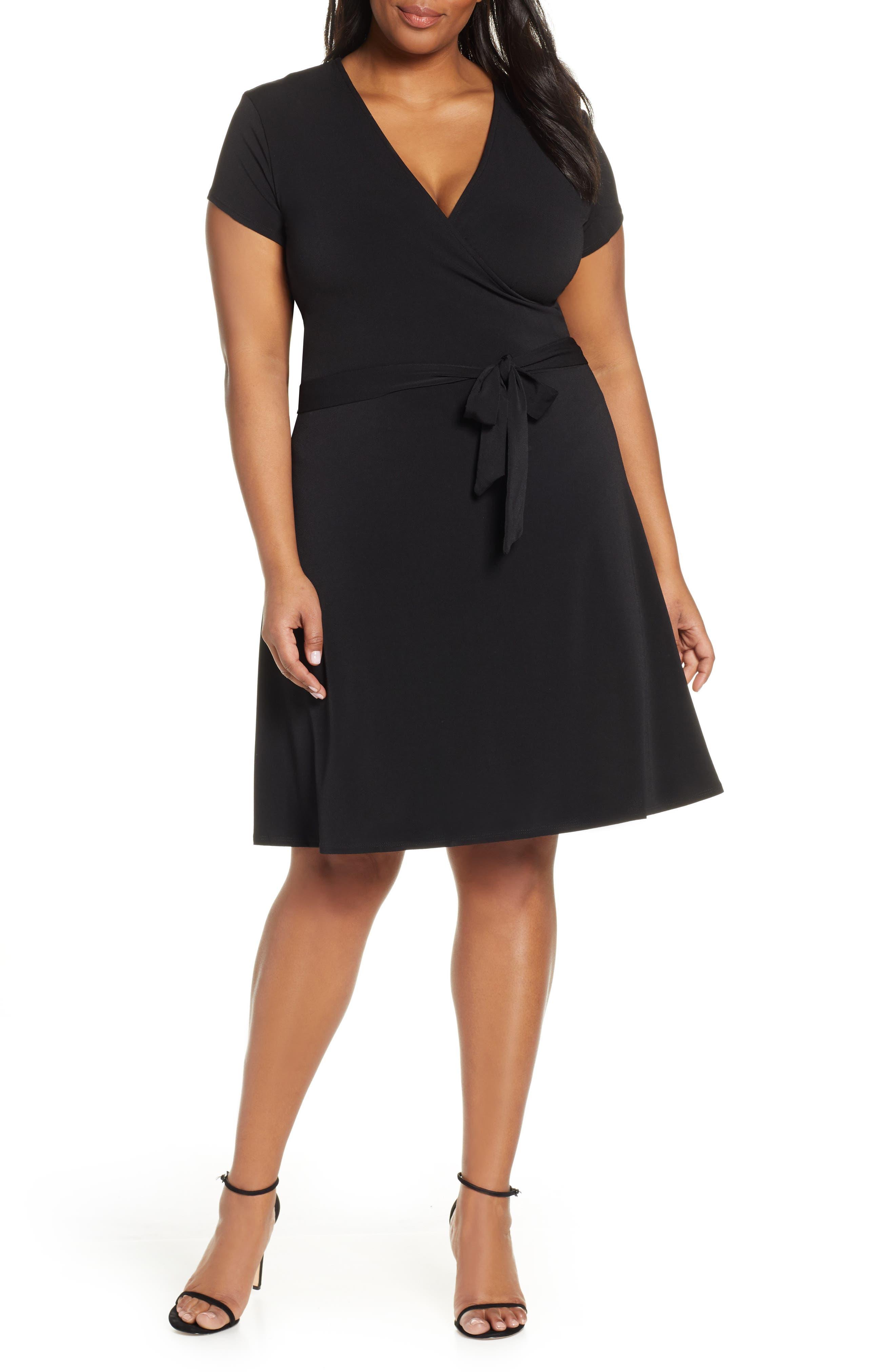 Plus Size Leota Perfect Faux Wrap Dress, Black
