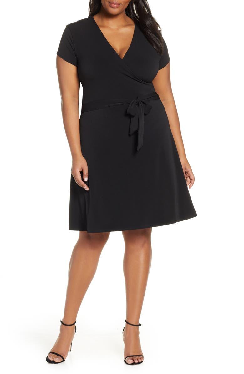 LEOTA Perfect Faux Wrap Dress, Main, color, BLACK CREPE