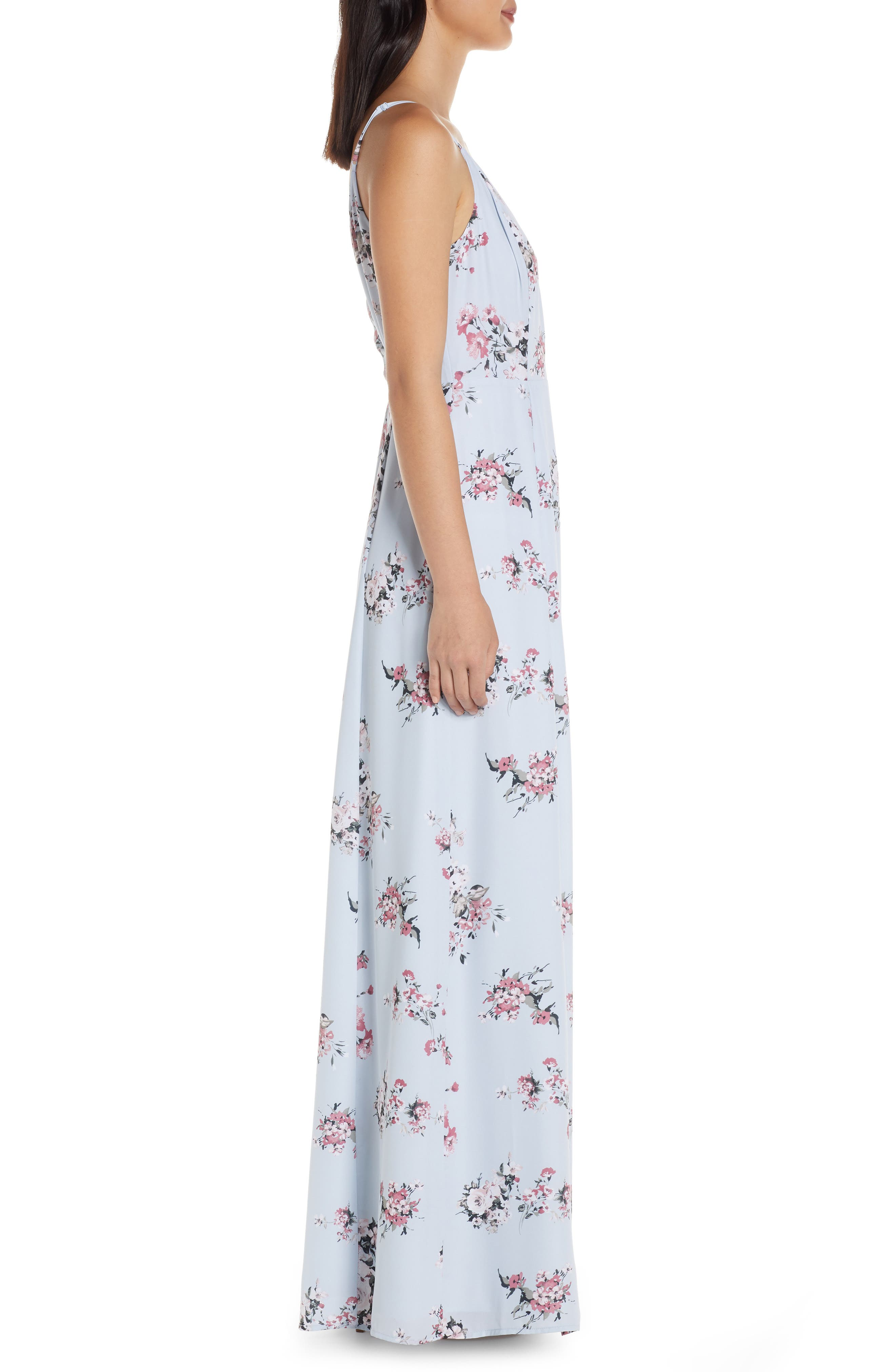 ,                             The Angelina Slit Wrap Gown,                             Alternate thumbnail 4, color,                             DUSTY BLUE FLORAL