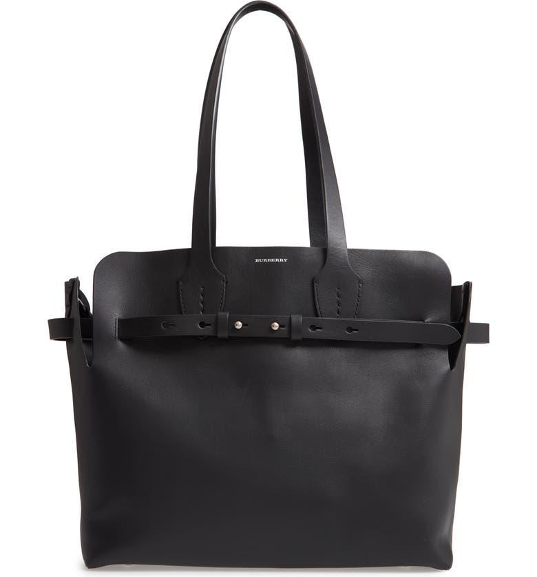 BURBERRY Medium Belt Bag Leather Tote, Main, color, 001