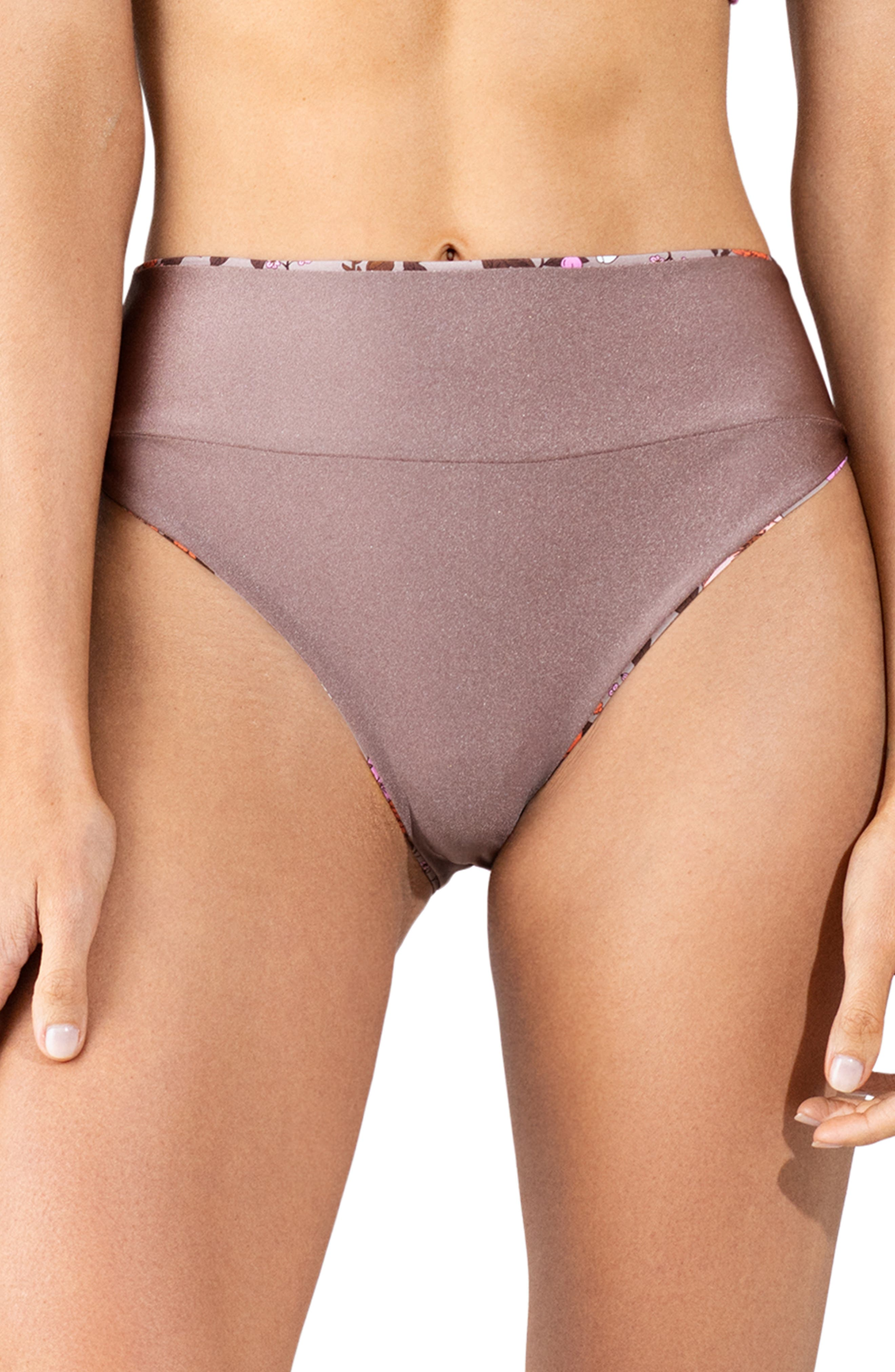 Ditsy Adventure Reversible High Waist Bikini Bottoms
