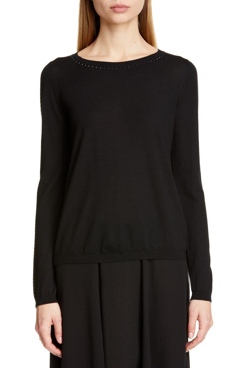MAX MARA Solange Silk & Cashmere Sweater, Main, color, BLACK