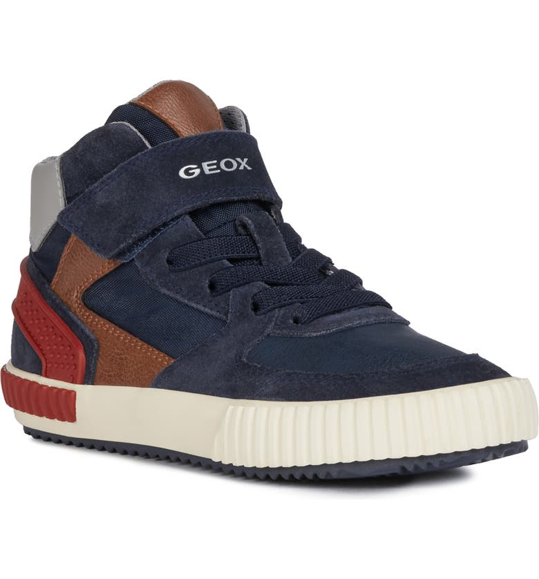 GEOX Alonisso 38 High Top Sneaker, Main, color, NAVY/ RED