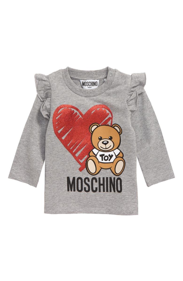 MOSCHINO Heart Bear Graphic T-Shirt, Main, color, GREY