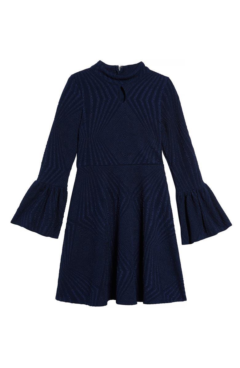 AVA & YELLY Flare Cuff Dress, Main, color, NAVY