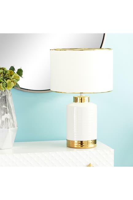 Image of CosmoLiving by Cosmopolitan Gold/White Modern Cylindrical Table Lamp