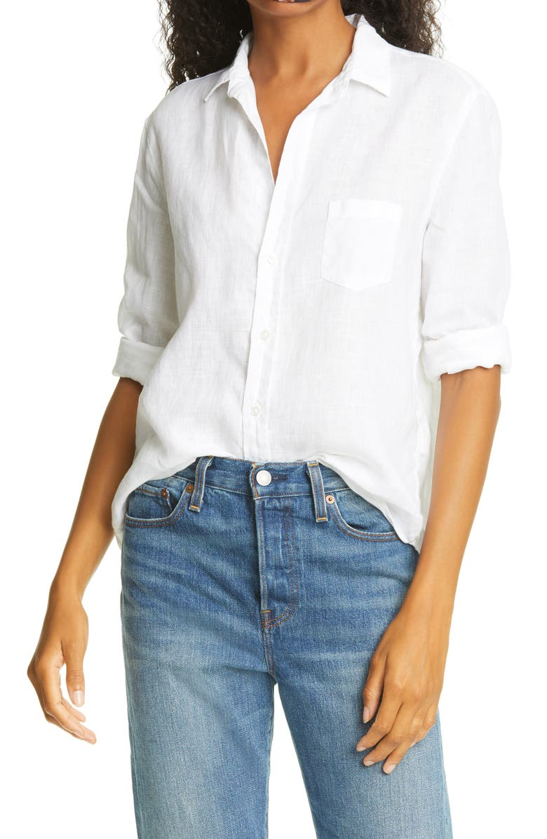 FRANK & EILEEN Eileen Linen Button-Up Shirt, Main, color, WHITE LINEN
