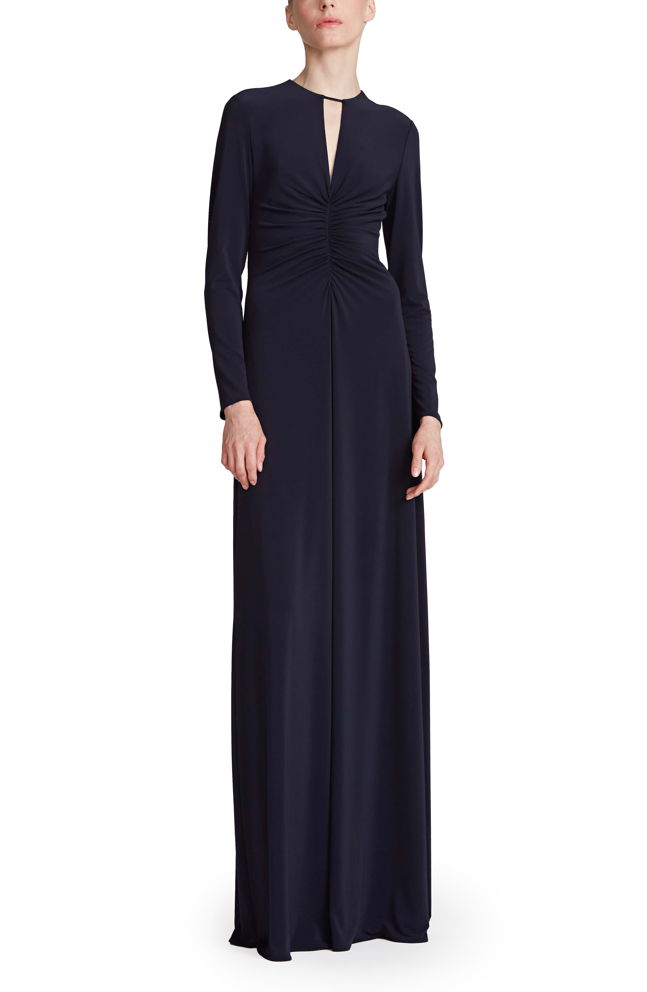 Vera Long Sleeve Jersey Column Gown