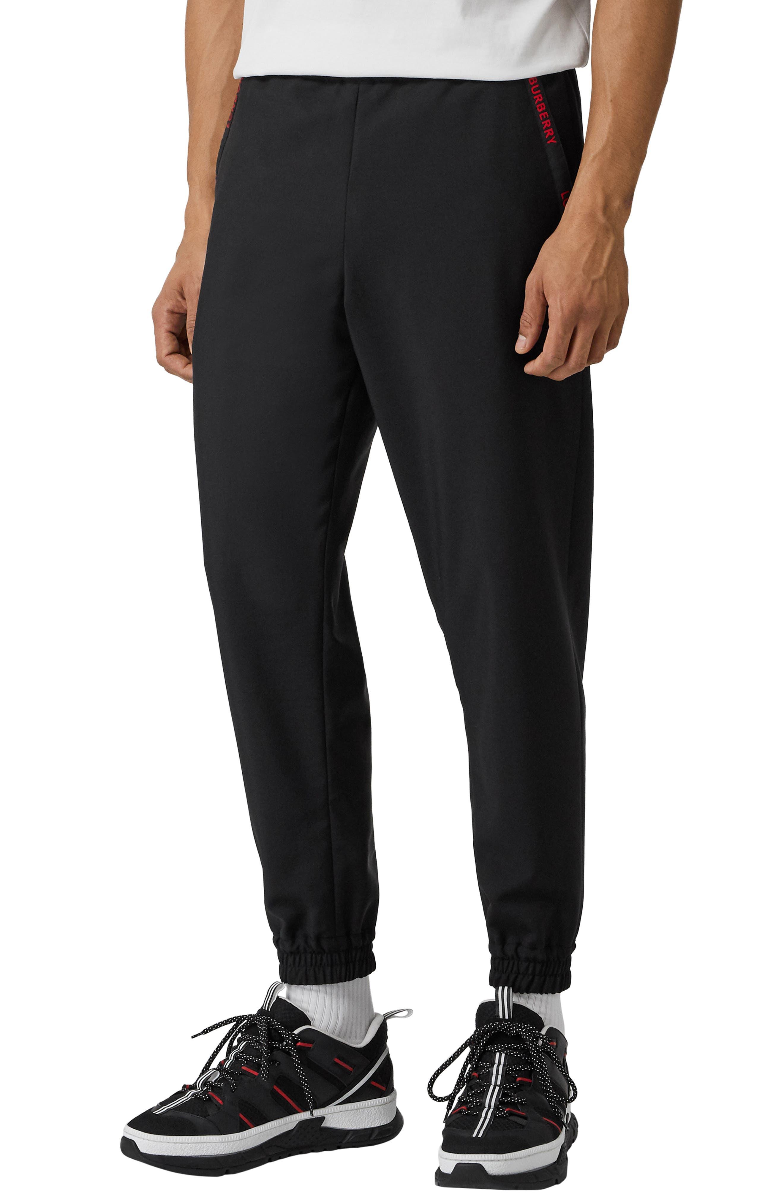 Burberry Block Wool & Mohair Slim Fit Sweatpants, Black