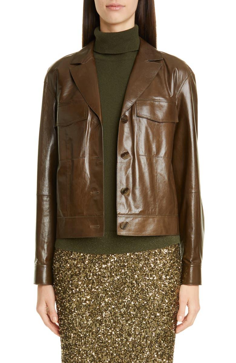 LAFAYETTE 148 NEW YORK Theodosia Leather Jacket, Main, color, PINE