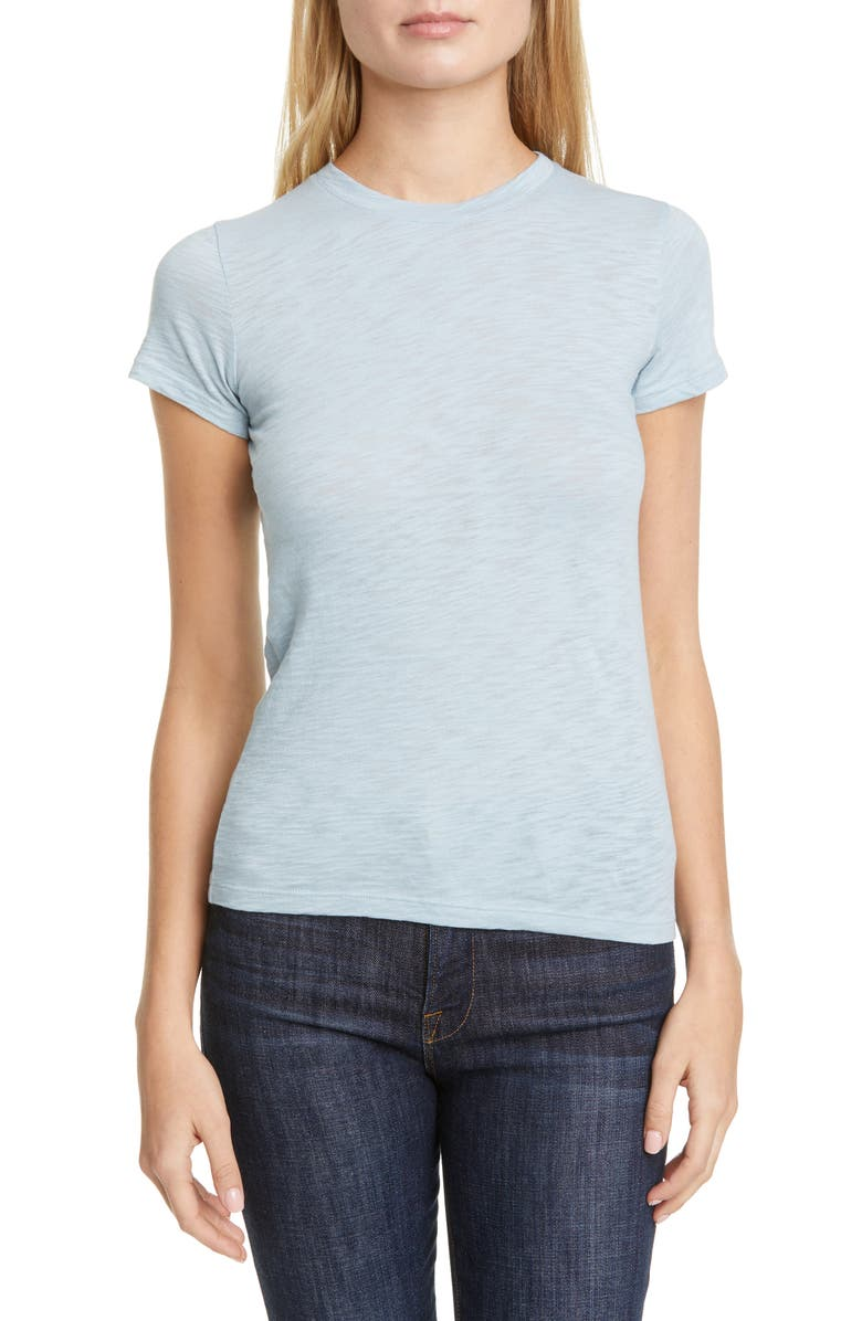 THEORY Rodiona Nebulous Slub Organic Cotton Tee, Main, color, BRIGHT SKY