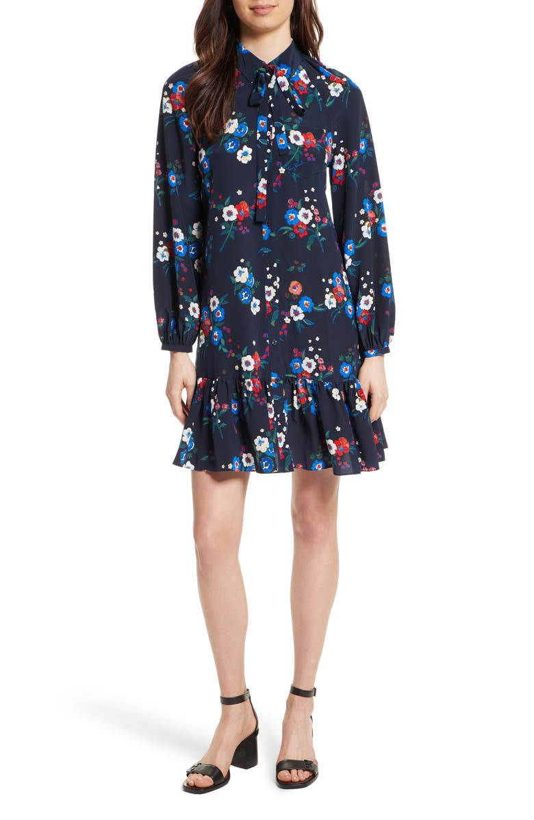 TORY BURCH Gabrielle Floral Silk Shirtdress, Main, color, 407