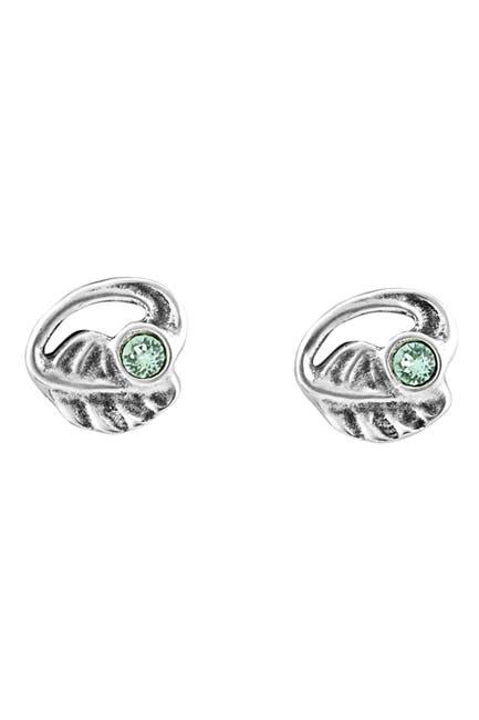 Image of Uno De 50 Bezel Set Crystal Leaf Stud Earrings