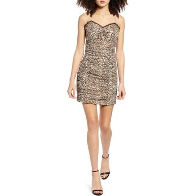 Endless Rose Leopard Print Ruched Sleeveless Dress, Black
