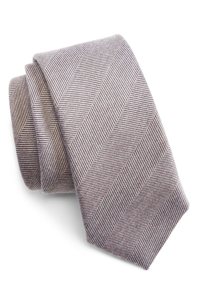 BRUNELLO CUCINELLI Chevron Wool & Silk Tie, Main, color, SAND