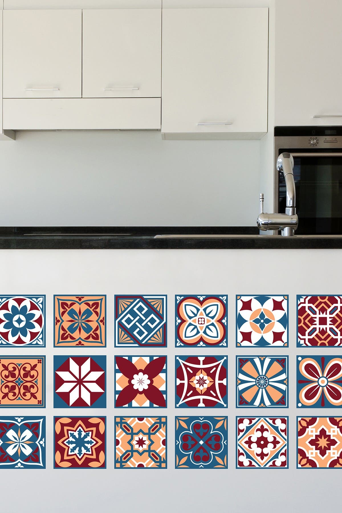 Image of WalPlus Multi Westminster Tiles Wall Sticker Decal