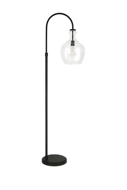 Image of Addison and Lane Verona Arc Blackened Bronze Floor Lamp with Clear Glass Shade