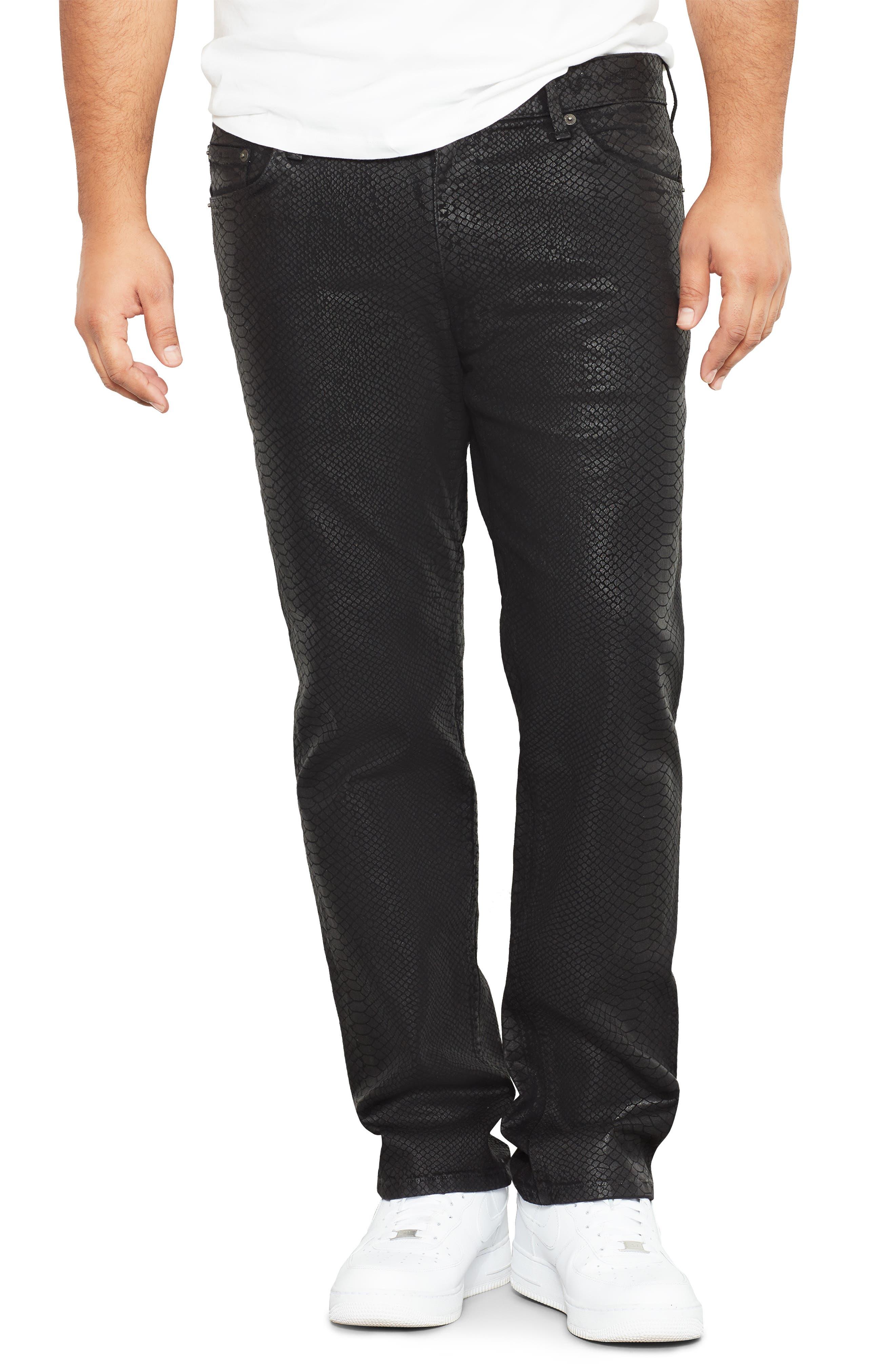 Snakeskin Textured Straight Leg Jeans