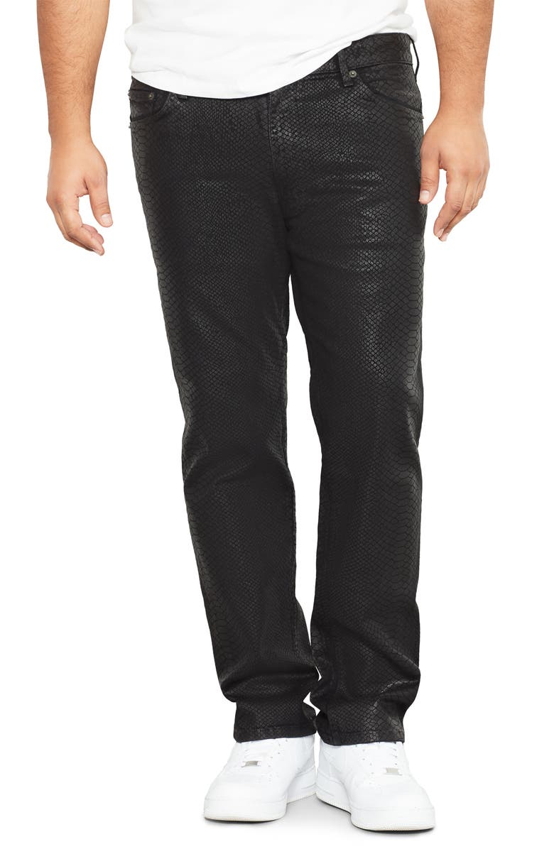 MVP COLLECTIONS Snakeskin Textured Straight Leg Jeans, Main, color, COBRA