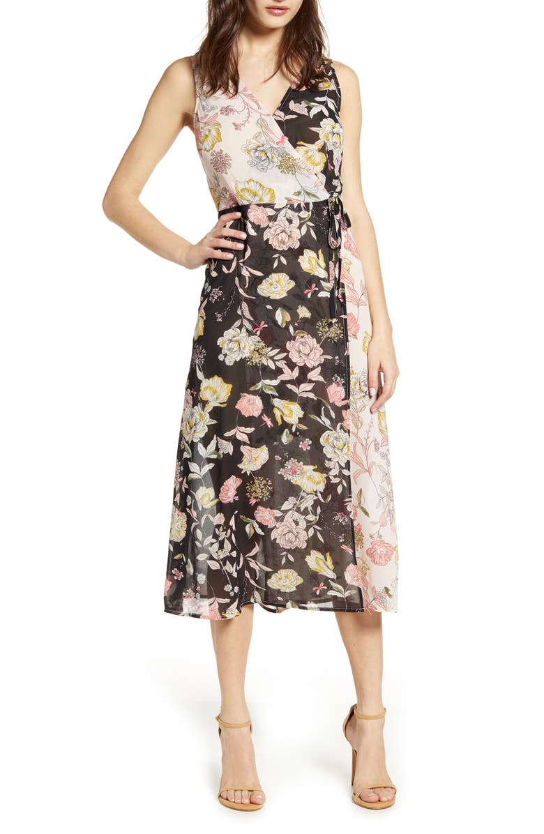 LEITH Floral Mix Faux Wrap Dress, Main, color, BLACK MIXED FLORAL