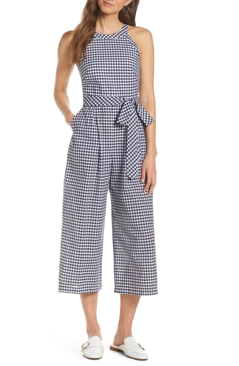 1901 Halter Neck Gingham Crop Jumpsuit, Main, color, 410