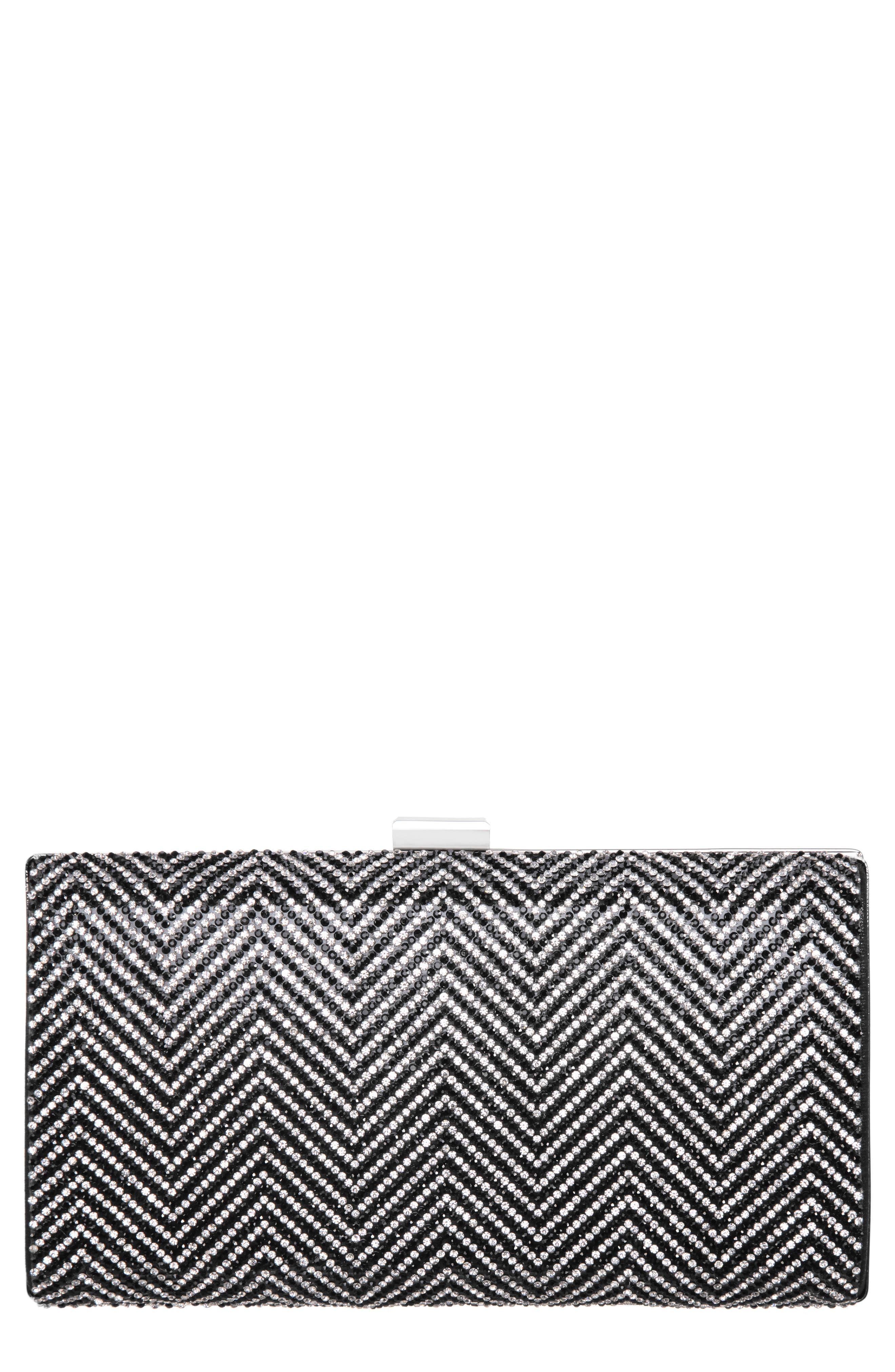Laken Crystal Embellished Box Clutch, Main, color, BLACK/ SILVER
