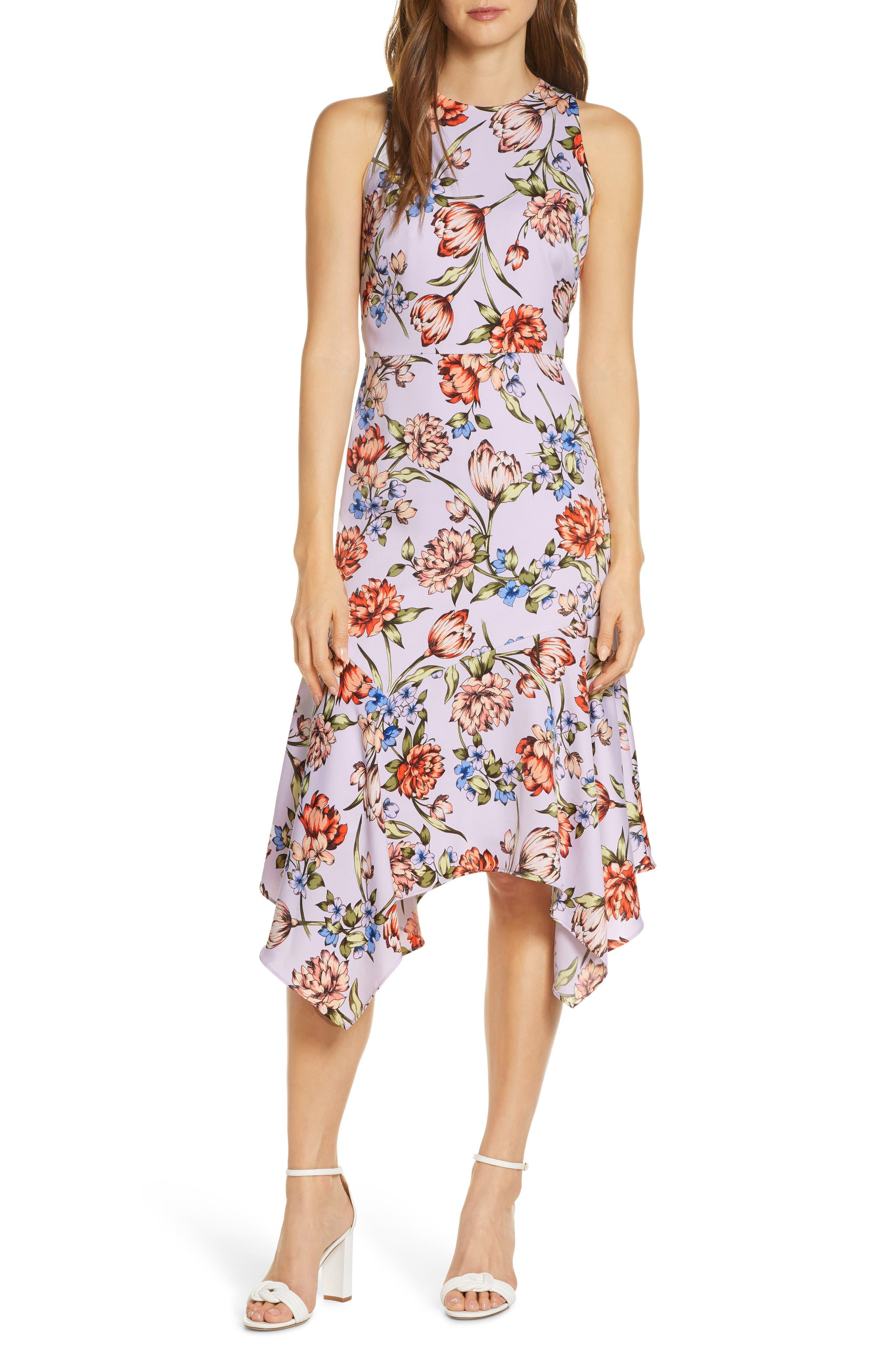 Image of Maggy London Floral Print Charmeuse Midi Dress