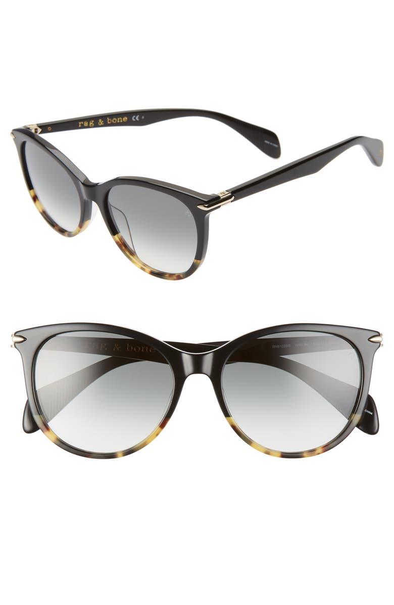 RAG & BONE 54mm Polarized Round Sunglasses, Main, color, BLACK HAVANA/ GREY GREEN