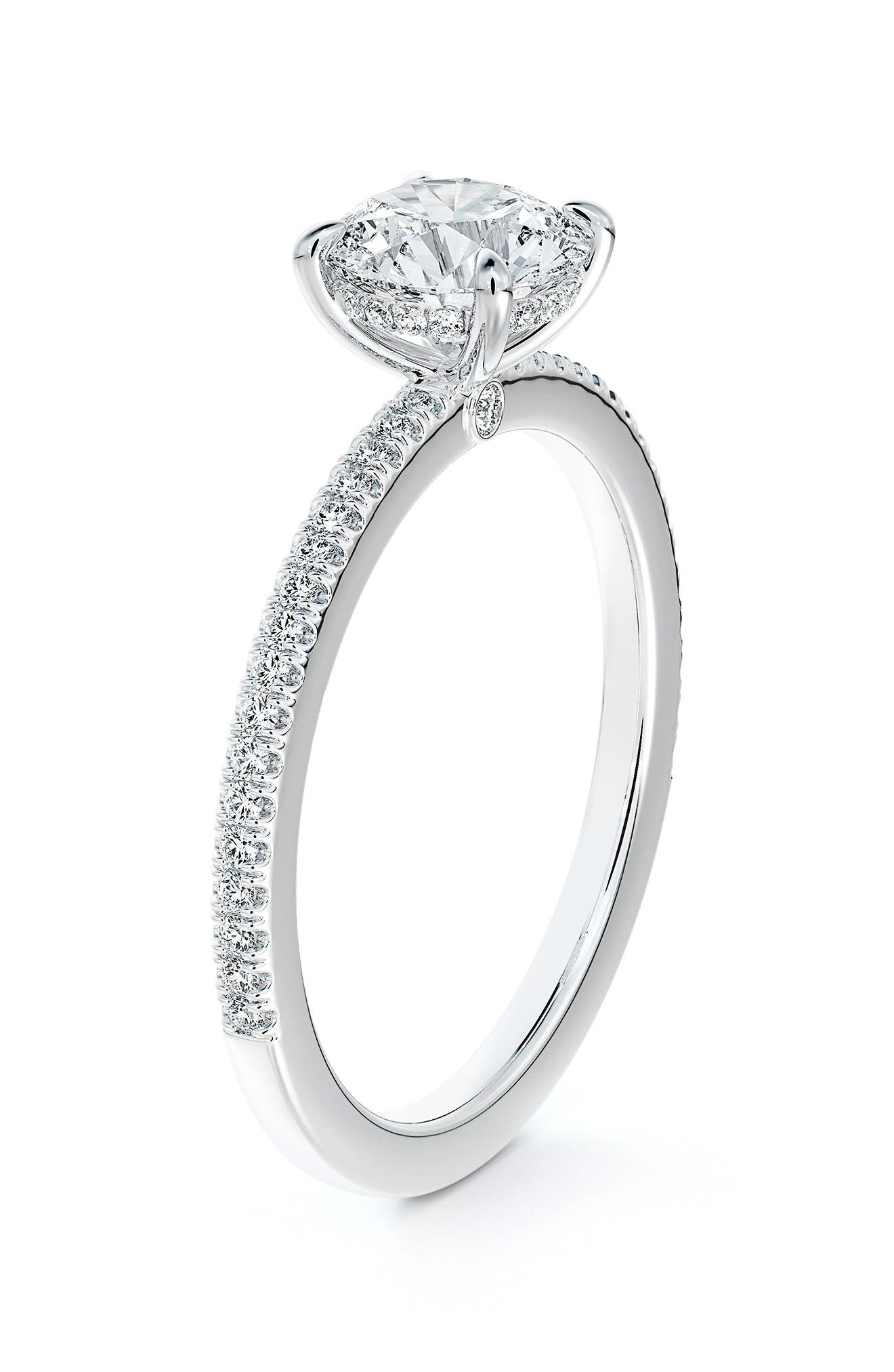 X Micaela Simply Solitaire Round Diamond Engagement Ring With Diamond Band