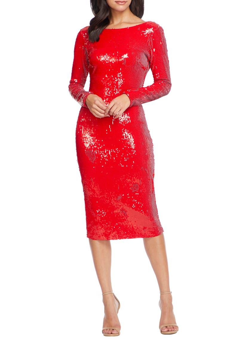 DRESS THE POPULATION Emery Sequin Long Sleeve Sheath Dress, Main, color, 601