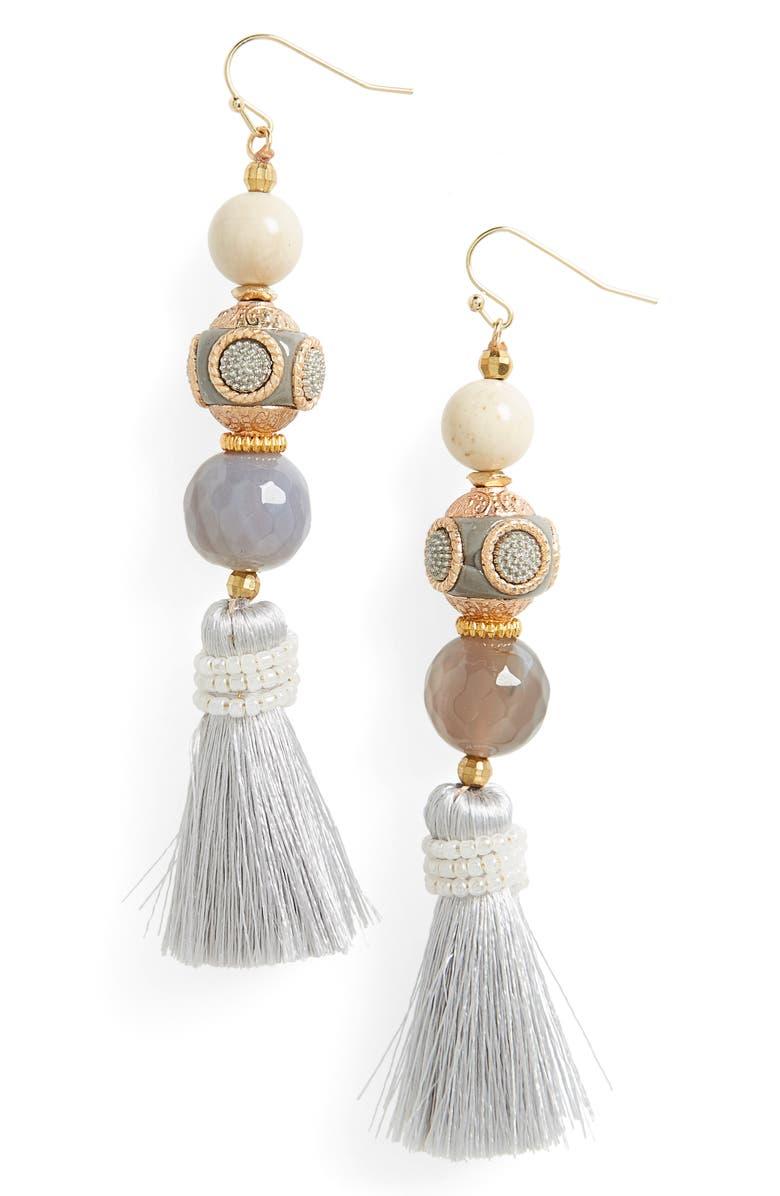 PANACEA Ball Tassel Drop Earrings, Main, color, GREY
