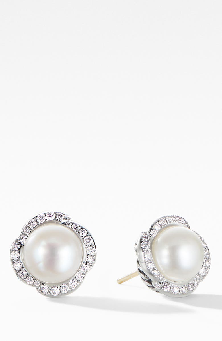 DAVID YURMAN Continuance Pearl Earrings with Diamonds, Main, color, PEARL