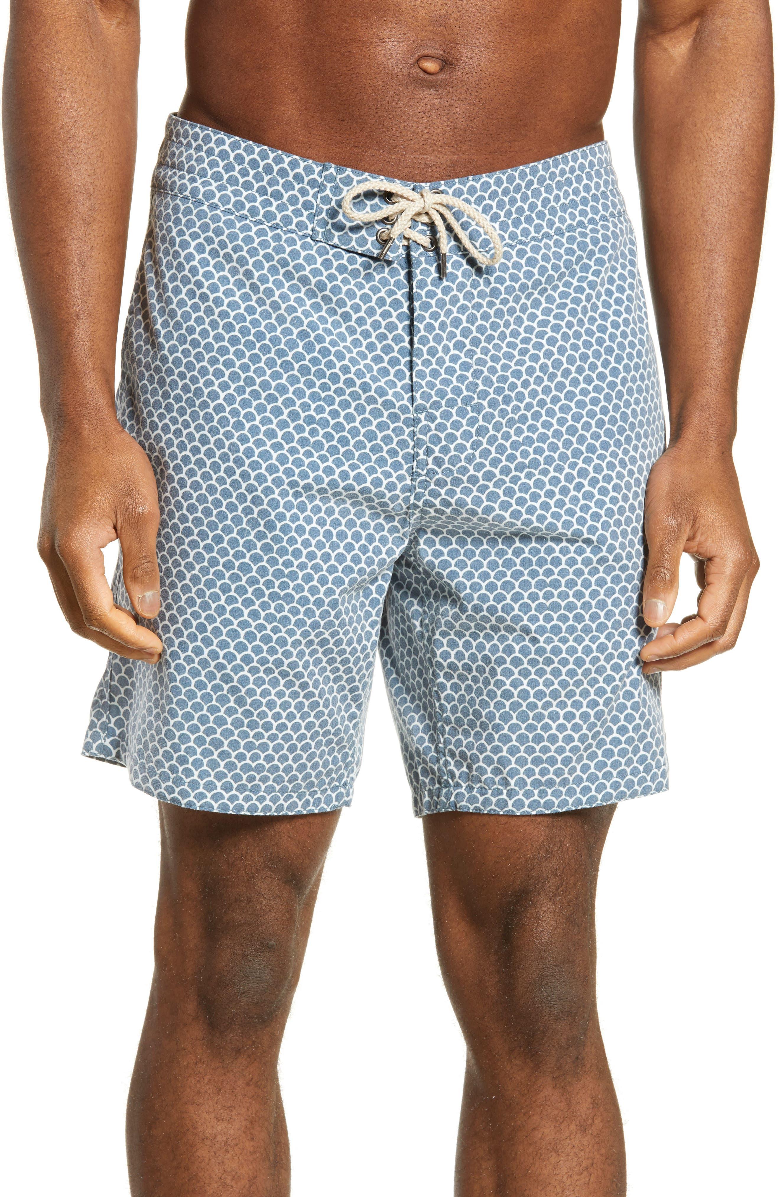 Faherty Fishscale Batik Board Shorts, Blue