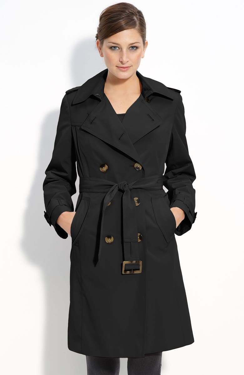 LONDON FOG Double Breasted Trench, Main, color, 001