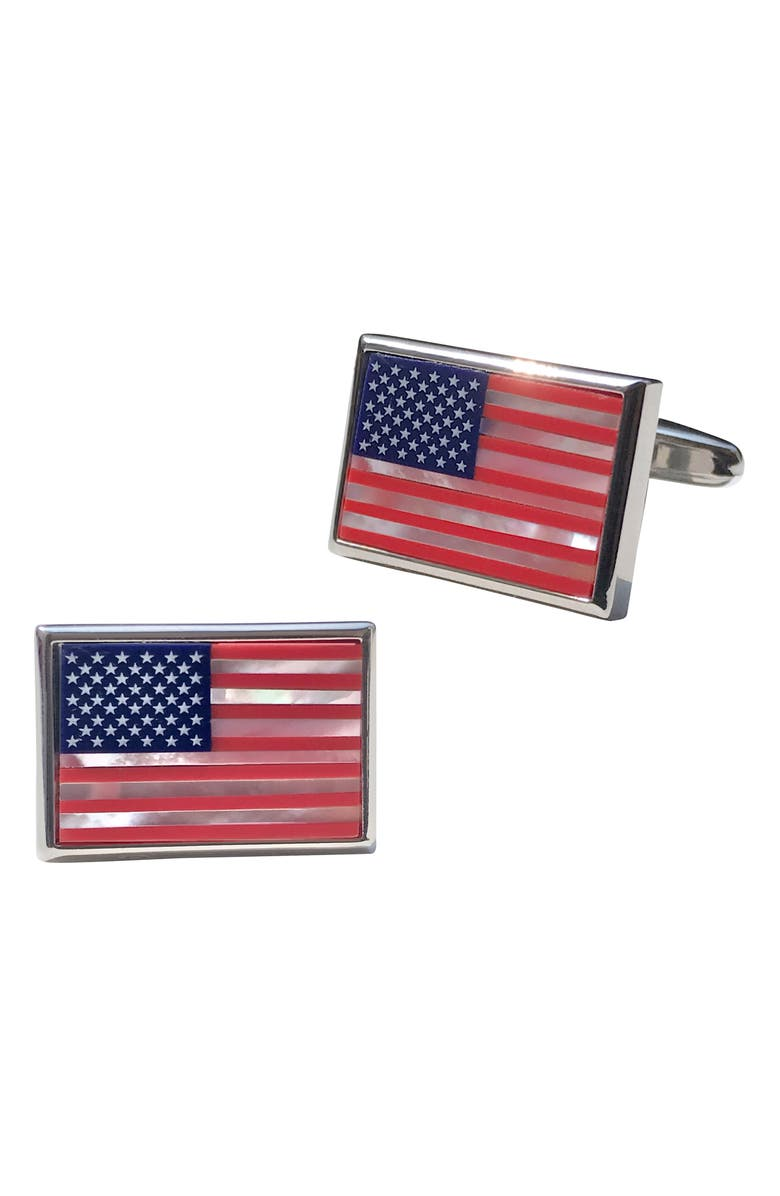 LINK UP American Flag Cuff Links, Main, color, RED