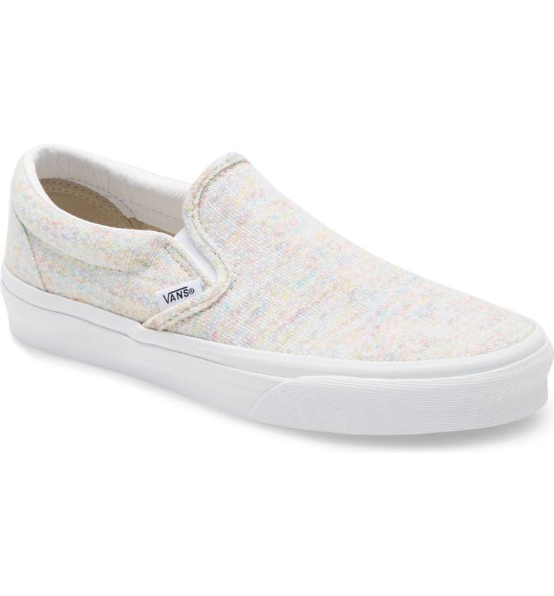 VANS Classic Slip-On Sneaker, Main, color, MULTI/ TRUE WHITE