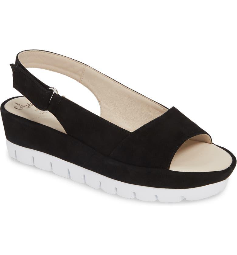AMALFI BY RANGONI Barolo Slingback Wedge Sandal, Main, color, BLACK SUEDE