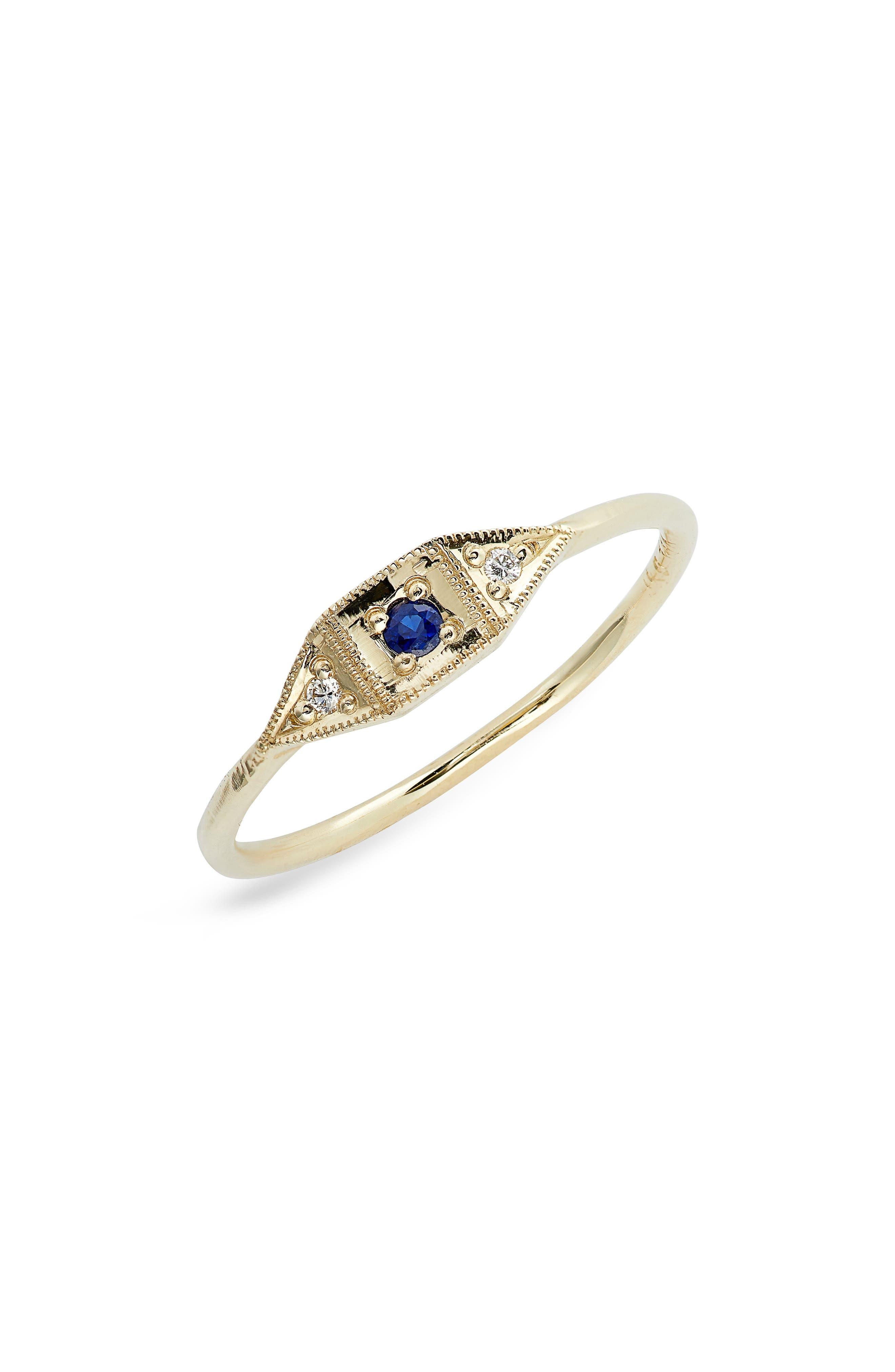Mini Deco Point Sapphire & Diamond Ring