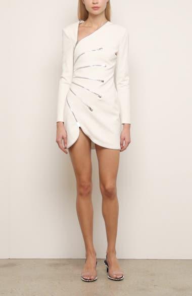 Sunburst Zipper Long Sleeve Minidress, video thumbnail