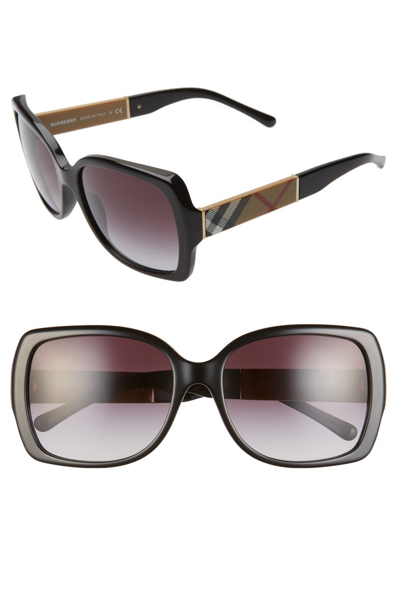 BURBERRY 58mm Square Sunglasses, Main, color, 001