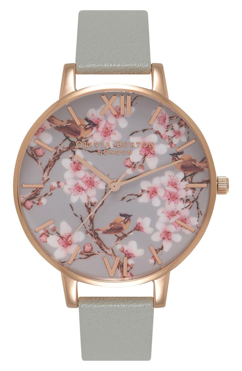 OLIVIA BURTON 'Painterly Prints' Leather Strap Watch, 38mm, Main, color, 020
