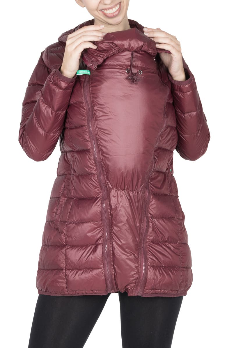 MODERN ETERNITY 3-in-1 Down Maternity Puffer Jacket, Main, color, BURGUNDY