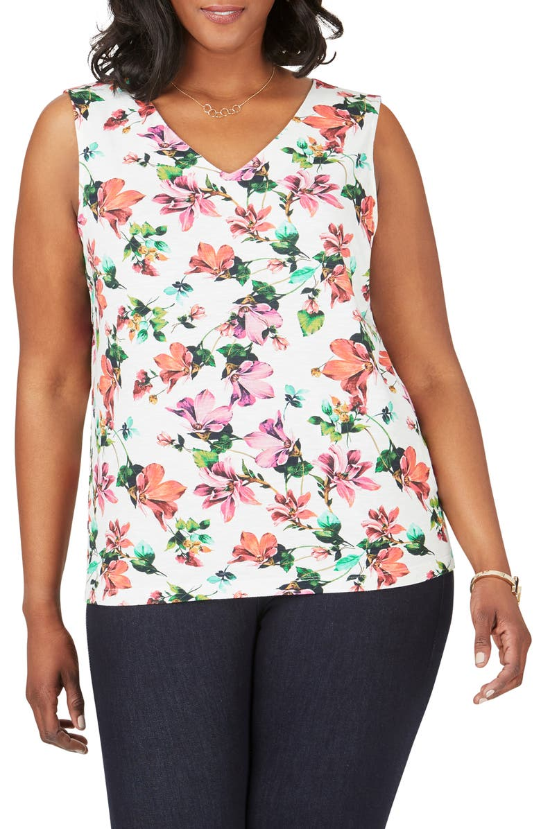 FOXCROFT Delphine Floral Print Button Back Sleeveless Top, Main, color, 960