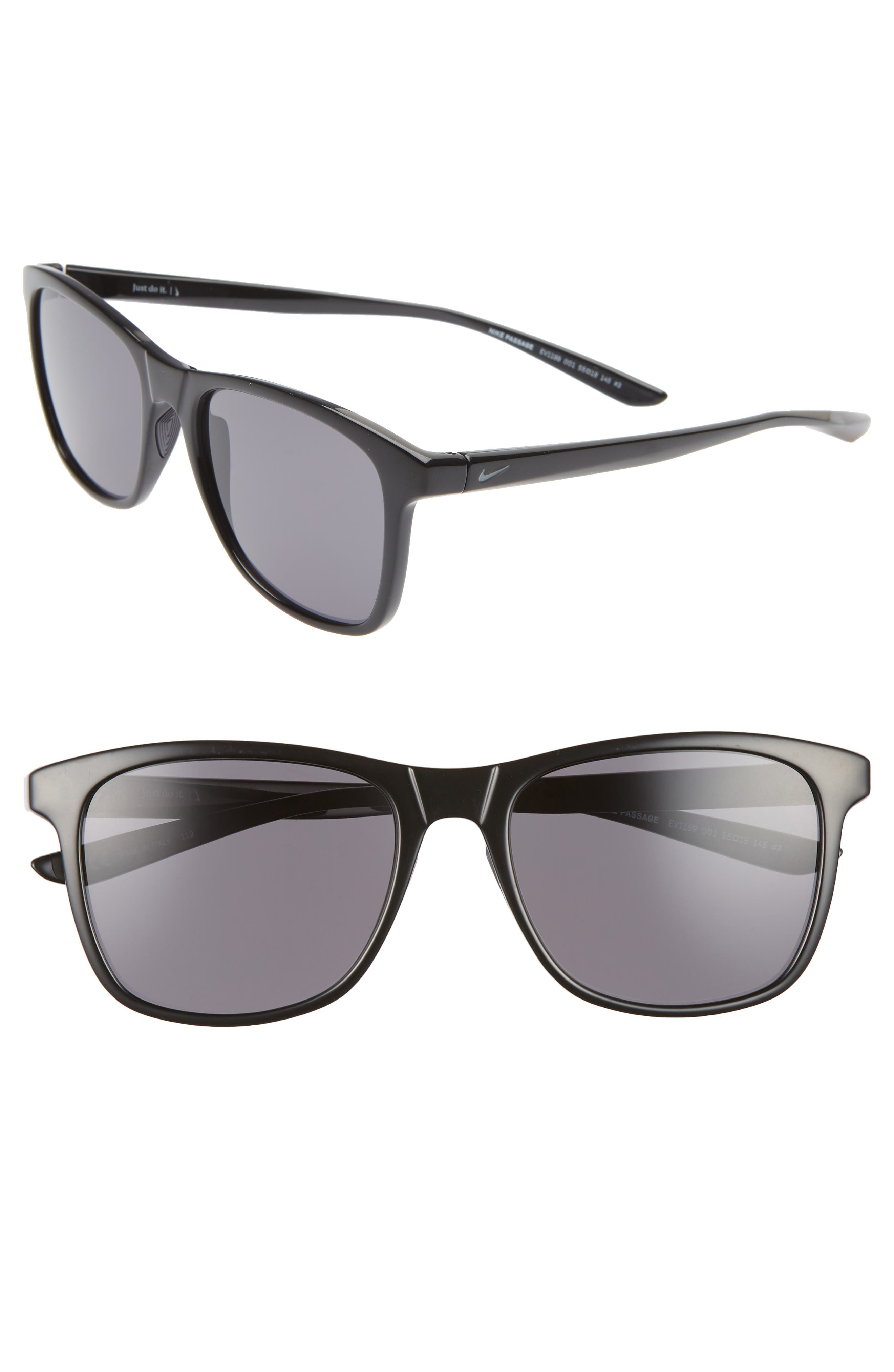 Nike Passage 55Mm Square Sunglasses - Black/ Dark Grey