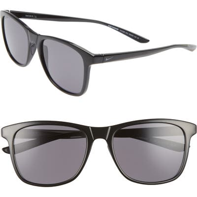Nike Passage 55Mm Square Sunglasses - Black/ Dark Grey