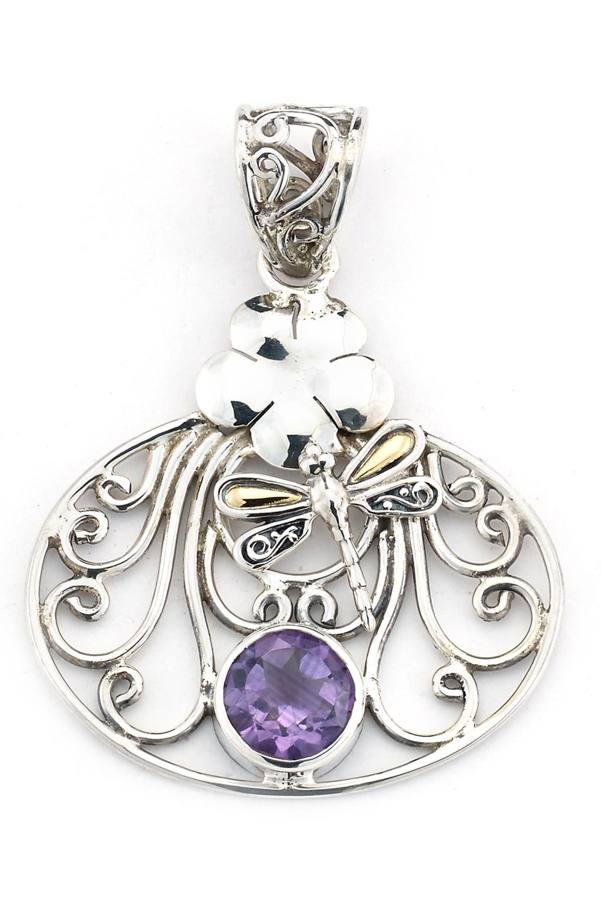 Image of Samuel B Jewelry Sterling Silver & 18K Gold Amy Dragonfly Pendant