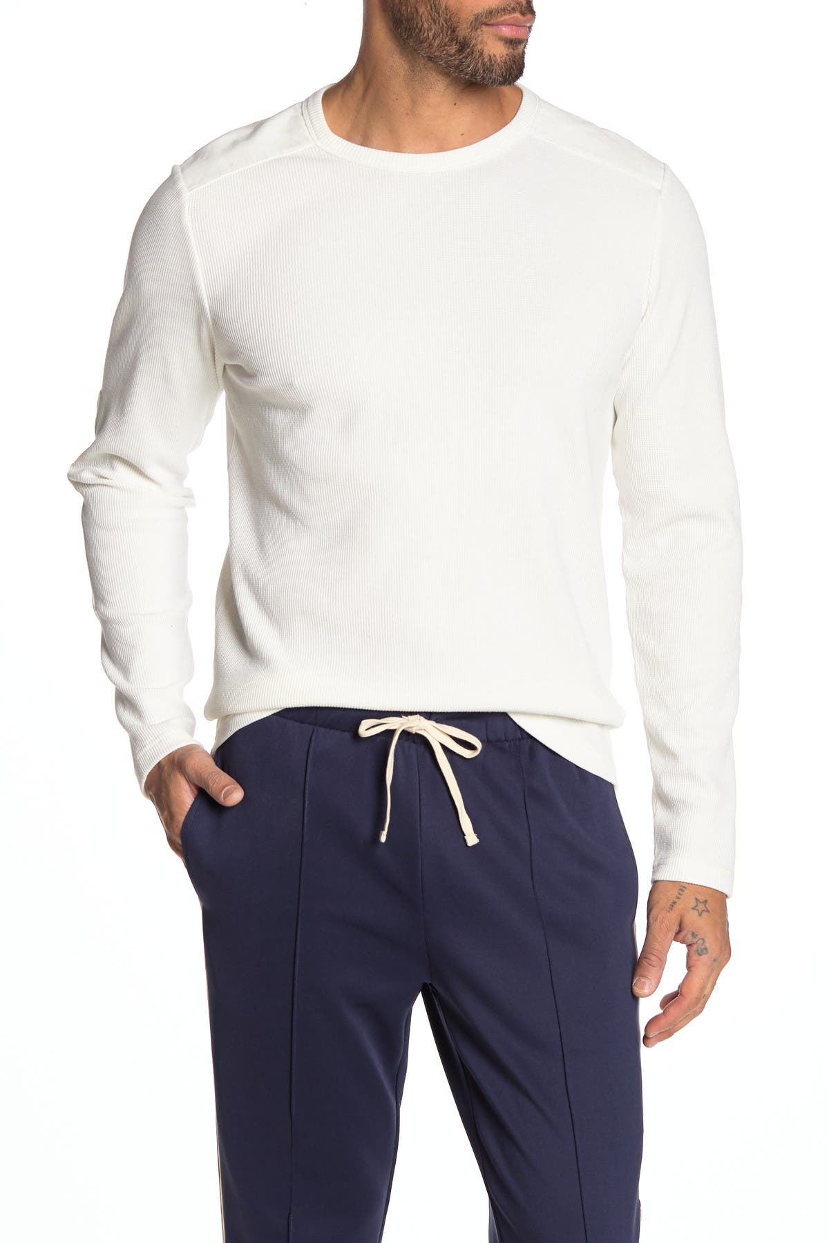 Image of OVADIA AND SONS Elbow Patch Thermal Shirt