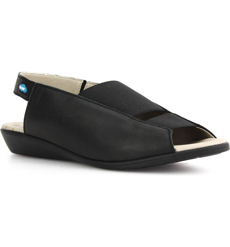 CLOUD Colette Sandal, Main, color, BLACK LEATHER