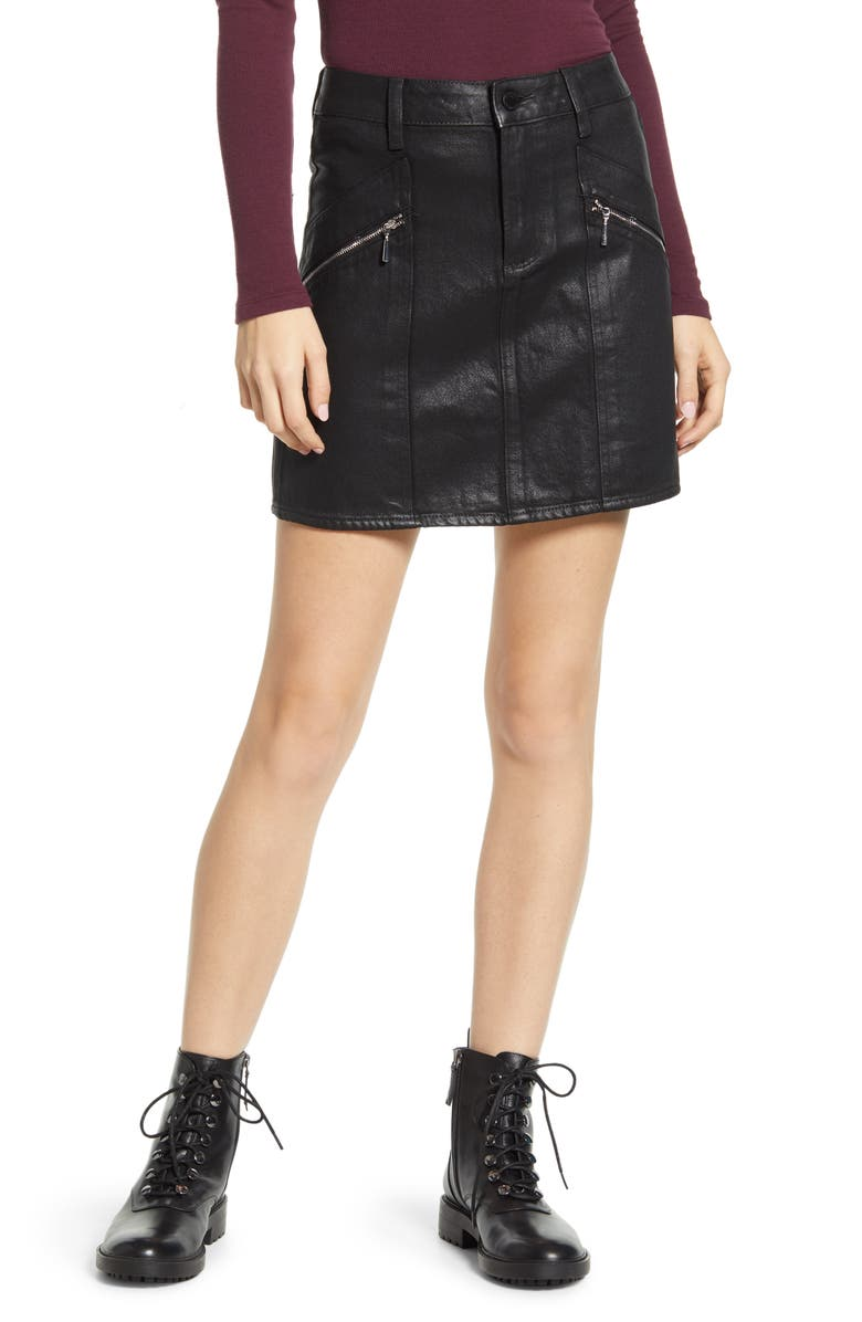 PAIGE Aideen Coated Miniskirt, Main, color, 001