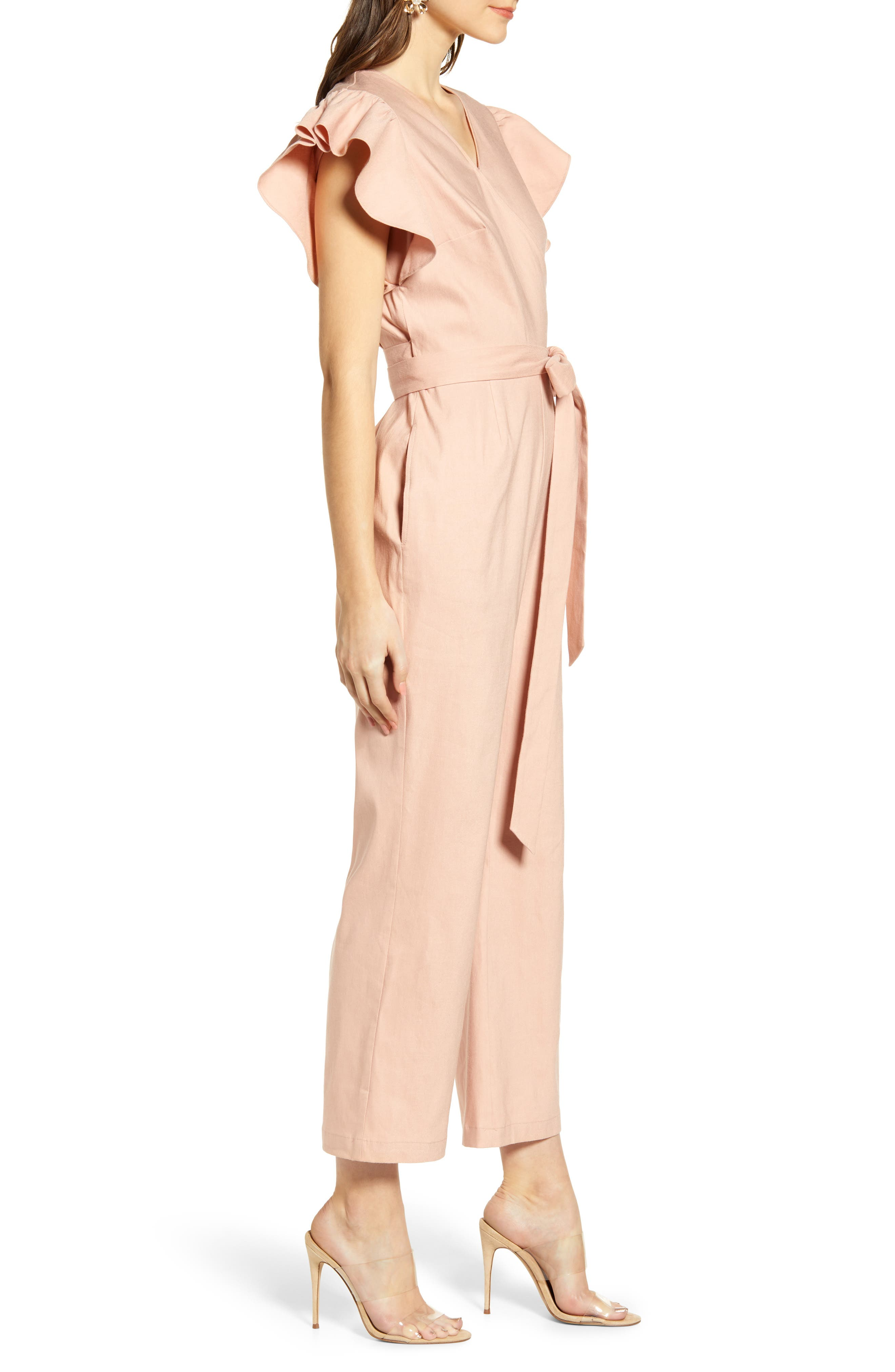 ,                             Ruffle Sleeve Jumpsuit,                             Alternate thumbnail 4, color,                             680
